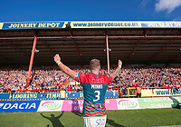 Picture by Allan McKenzie/SWpix.com - 09/09/2017 - Rugby League - Betfred Super League - Hull KR v Widnes Vikings - KC Lightstream Stadium, Hull, England - Hull KR's Thomas Minns celebrates to the fans after his side regain their place in Super League.