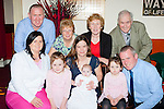 Little Aoife Dwyer, Killorglin celebrated her christening with her parents Kerryann and John, her big sisters Aisling and Erin in the Manor Inn Killorlin on Saturday front row l-r: Liz Gamble,  Aisling, Kerryann, Aoife, Erin and John Dwyer. Back row: Hugh Dwyer, Maureen Gamble, Kathleen and John Dwyer