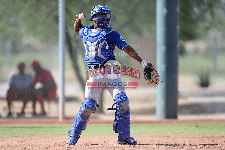 Texas Rangers catcher Sherman Lacrus (97) during an Instructional League game against the Cincinnati Reds on October 7, 2013 at Goodyear Training Complex in Goodyear, Arizona.  (Mike Janes/Four Seam Images)