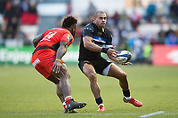 Jonathan Joseph of Bath Rugby passes the ball. European Rugby Champions Cup match, between RC Toulon and Bath Rugby on December 9, 2017 at the Stade Mayol in Toulon, France. Photo by: Patrick Khachfe / Onside Images