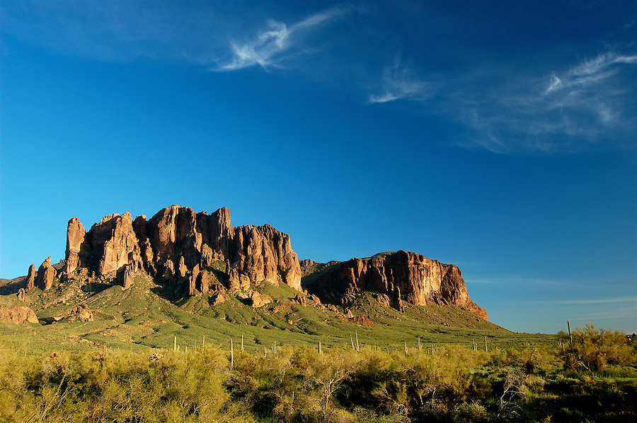 Superstition Mountains desert landscape viewed from Lost Dutchman State Park in Arizona, USA.