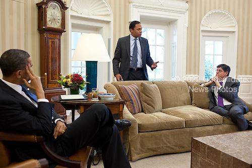 United States President Barack Obama meets with Rob Nabors, Assistant to the President for Legislative Affairs, and Office of Management and Budget Director Jack Lew, right, in the Oval Office to discuss the ongoing budget negotiations on a funding bill, April 8, 2011. .Mandatory Credit: Pete Souza - White House via CNP