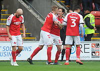 Fleetwood Town's Josh Morris celebrates scoring his side's second goal with team-mate Peter Clarke<br /> <br /> Photographer Kevin Barnes/CameraSport<br /> <br /> The EFL Sky Bet Championship - Fleetwood Town v AFC Wimbledon - Saturday 10th August 2019 - Highbury Stadium - Fleetwood<br /> <br /> World Copyright © 2019 CameraSport. All rights reserved. 43 Linden Ave. Countesthorpe. Leicester. England. LE8 5PG - Tel: +44 (0) 116 277 4147 - admin@camerasport.com - www.camerasport.com