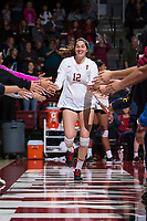 STANFORD, CA - November 15, 2017: Audriana Fitzmorris at Maples Pavilion. The Stanford Cardinal defeated USC 3-0 to claim the Pac-12 conference title.