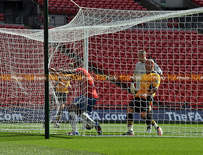 Lanre Oyebanjo of York City scores the second goal - York City v's Newport County - FA Carlsberg Trophy Final at Wembley Stadium, London - 12/05/2012 - MANDATORY CREDIT: Martin Dalton/TGSPHOTO - Self billing applies where appropriate - 0845 094 6026 - contact@tgsphoto.co.uk - NO UNPAID USE.