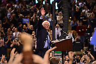 Baltimore, MD - April 23, 2016: 2016 presidential candidate Sen. Bernie Sanders waves to supporters after speaking during a campaign rally at the Royal Farms Arena in Baltimore, MD, April 23, 2016.  (Photo by Don Baxter/Media Images International)