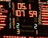 The final scoreline of 107-59, with 5.1 seconds left on the clock during the NBL Round 9 match between the Wellington Saints and Nelson Giants at TSB Bank Arena, Wellington, New Zealand on Thursday 7 May 2009. Photo: Dave Lintott / lintottphoto.co.nz