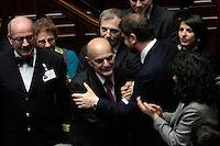 Pier Luigi Bersani a sorpresa fa il suo ingresso in Aula tra gli applausi dei deputati<br /> Roma 25-02-2014 Camera. Voto di fiducia al nuovo Governo.<br /> Senate. Trust vote for the new Government.<br /> Photo Samantha Zucchi Insidefoto