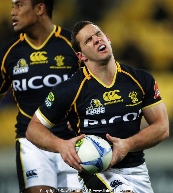 Shaun Treeby winces at a knock-on during the ITM Cup rugby union match between Wellington Lions and Hawkes Bay at Westpac Stadium, Wellington, New Zealand on Tuesday, 28 August 2012. Photo: Dave Lintott / lintottphoto.co.nz