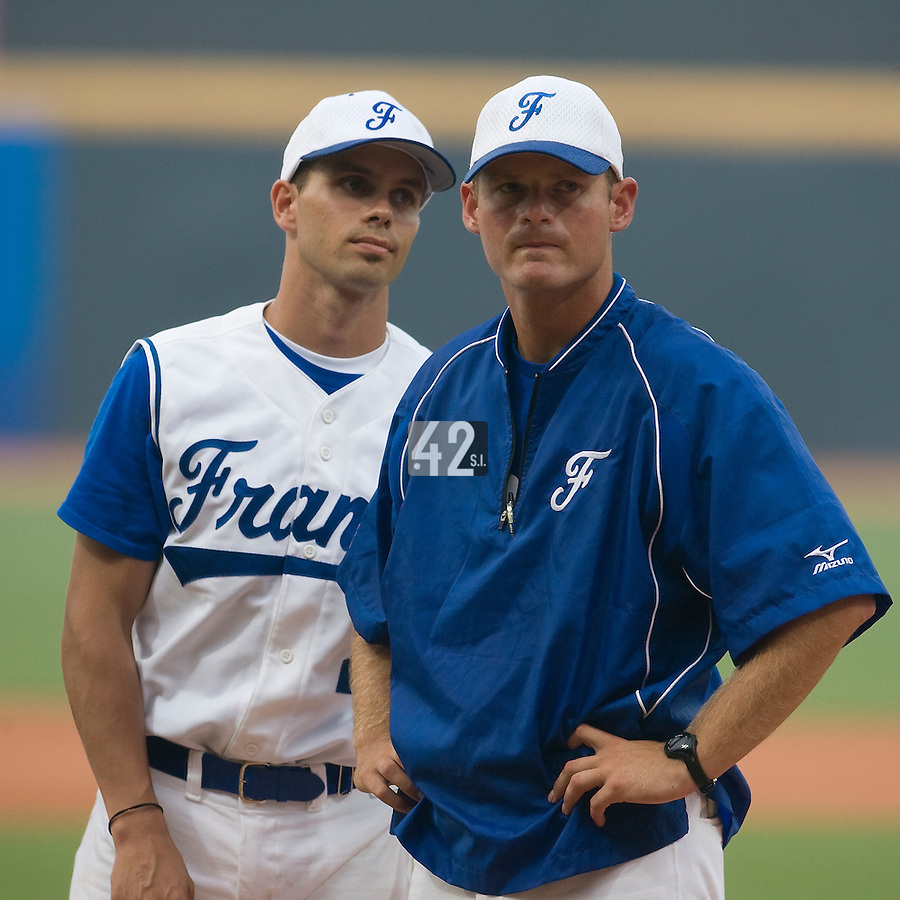 20 August 2007: Sebastien Herve and team manager Jeff Zeilstra during the players introduction prior to the Czech Republic 6-1 victory over France in the Good Luck Beijing International baseball tournament (olympic test event) at the Wukesong Baseball Field in Beijing, China.