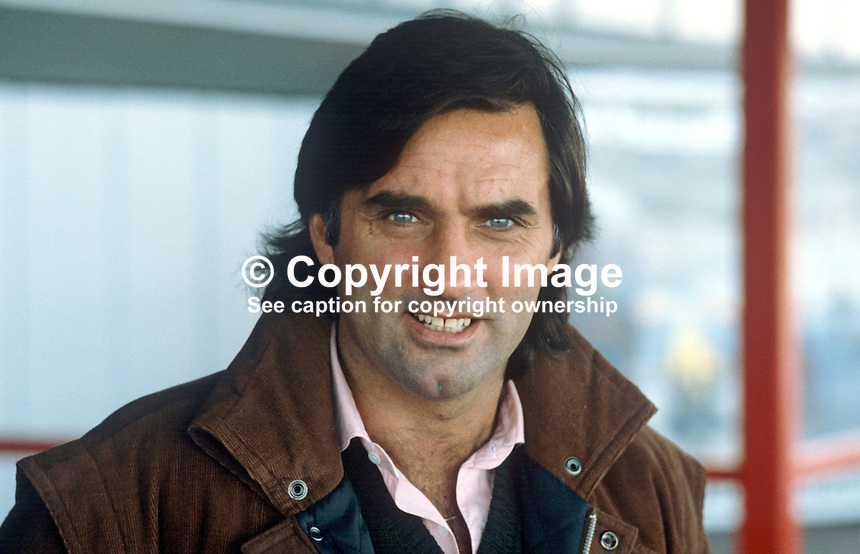 N Ireland soccer personality, George Best, on his arrival at Belfast International Airport, to make a guest appearance for Tobermore United FC, a local intermediate club in their cup final match against ______.  It was the only occasion when Best played competitively for a N Ireland club side..19840028GB..Copyright Image from Victor Patterson, 54 Dorchester Park, Belfast, UK, BT9 6RJ..Tel: +44 28 9066 1296.Mob: +44 7802 353836.Voicemail +44 20 8816 7153.Skype: victorpattersonbelfast.Email: victorpatterson@me.com.Email: victorpatterson@ireland.com (back-up)..IMPORTANT: If you wish to use this image or any other of my images please go to www.victorpatterson.com and click on the Terms & Conditions. Then contact me by email or phone with the reference number(s) of the image(s) concerned.