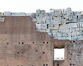 Interior view of the upper structure of the Colosseum, also known as the Flavian Amphitheatre, in Rome, Italy on Friday, May 25, 2012.  It shows the travertine blocks and bricks used in the construction of the building.  This photo was taken from the restored floor of the structure.  .Credit: Ron Sachs / CNP