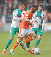 Blackpool's Liam Feeney under pressure from Plymouth Argyle's Antoni Sarcevic<br /> <br /> Photographer Kevin Barnes/CameraSport<br /> <br /> The EFL Sky Bet League One - Blackpool v Plymouth Argyle - Saturday 30th March 2019 - Bloomfield Road - Blackpool<br /> <br /> World Copyright © 2019 CameraSport. All rights reserved. 43 Linden Ave. Countesthorpe. Leicester. England. LE8 5PG - Tel: +44 (0) 116 277 4147 - admin@camerasport.com - www.camerasport.com