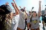 LOS ANGELES, CA - MAY 13: The University of Southern California celebrates after winning the Division I Women's Water Polo Championship held at the Uytengsu Aquatics Center on the USC campus on May 13, 2018 in Los Angeles, California. USC defeated Stanford 5-4. (Photo by Tim Nwachukwu/NCAA Photos via Getty Images)