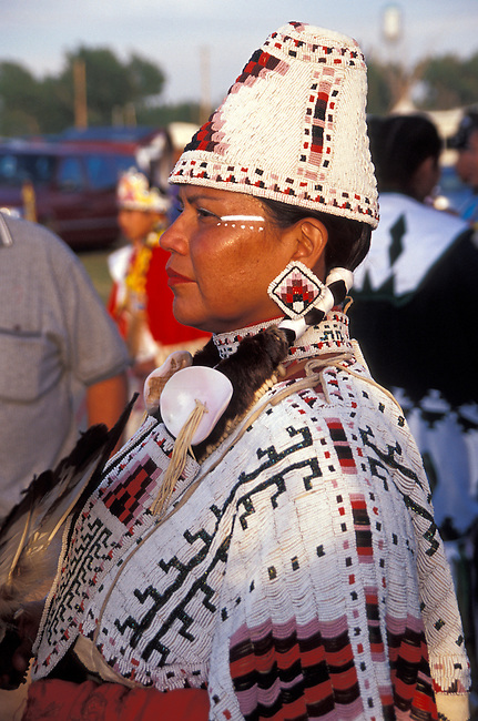 Woman dressed in fully beaded cylinder hat and cape during the Blackfeet Indian Days Festival, Browning Montana