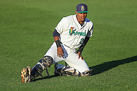 Cedar Rapids Kernels catcher Brian Navarreto (21) stretches on the field prior to game five of the Midwest League Championship Series against the West Michigan Whitecaps on September 21st, 2015 at Perfect Game Field at Veterans Memorial Stadium in Cedar Rapids, Iowa.  West Michigan defeated Cedar Rapids 3-2 to win the Midwest League Championship. (Brad Krause/Four Seam Images)