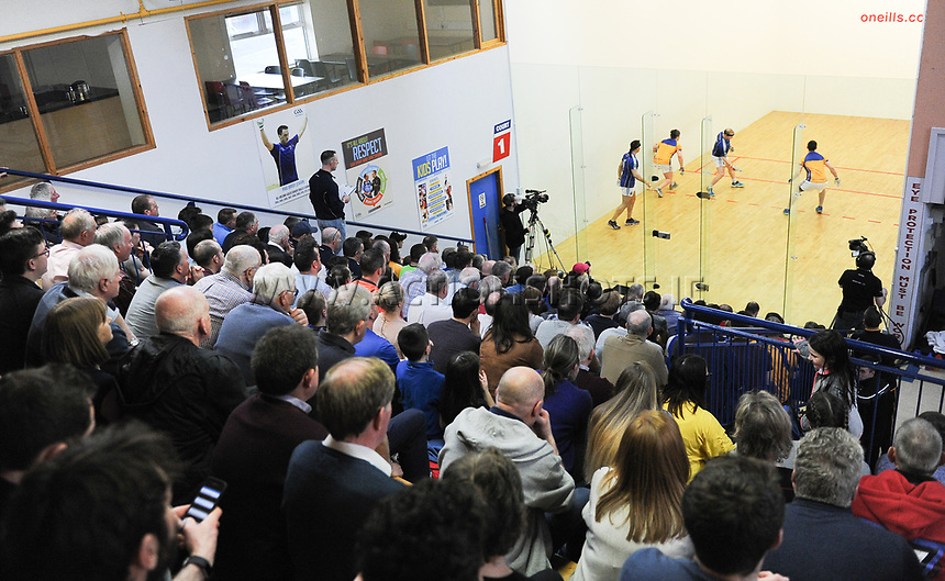 07/04/2018; GAA Handball O&rsquo;Neills 40x20 Championship Mens Senior Final - Cavan (Paul Brady/Michael Finnegan v Clare (Diarmuid Nash/Colin Crehan); Kingscourt, Co Cavan;<br /> General View of spectators watching the game.<br /> Photo Credit: actionshots.ie/Tommy Grealy