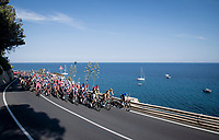Peloton (only) riding along the Mediterranean (for the finale)<br /> <br /> 'La Primavera' (Spring) in summer!<br /> 111st Milano-Sanremo 2020 (1.UWT)<br /> 1 day race from Milano to Sanremo (305km)<br /> <br /> the postponed edition > exceptionally held in summer because of the Covid-19 pandemic calendar reshuffle