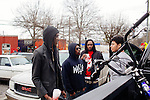 Rapper Young Thug, seen in Atlanta, Georgia, talking to YC in a parking lot, December 2013.