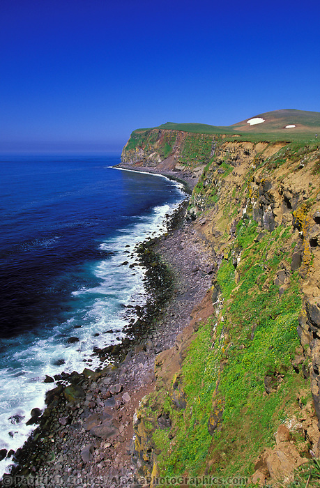 Coastal landscape of the shore of St. Paul Island, Bering sea, Pribilof Islands, Alaska.
