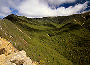 View of Franconia Ridge from Old Bridal Path in the White Mountain National Forest of New Hampshire USA. Old Bridal Path travels over the ridge on the left-hand side.