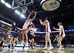 SIOUX FALLS, SD - MARCH 8: Hannah Sjerven #34 of South Dakota grabs a rebound against Oral Roberts at the 2020 Summit League Basketball Championship in Sioux Falls, SD. (Photo by Richard Carlson/Inertia)