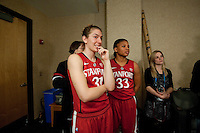 DENVER, CO--Toni Kokenis and Amber Orrange watch and waits for her turn during board show filming during media day at the Pepsi Center for the 2012 NCAA Women's Final Four in Denver, CO.