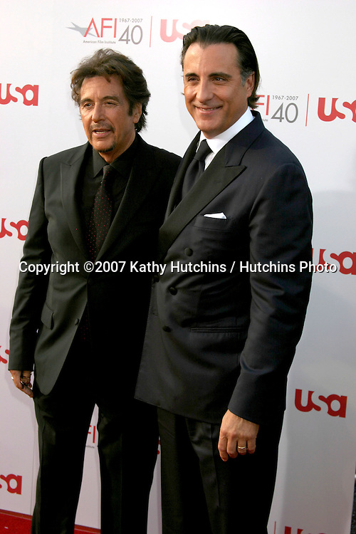Al Pacino & Andy Garcia.AFI Salute to Al Pacino.Kodak Theater.Los Angeles, CA.June 7, 2007.©2007 Kathy Hutchins / Hutchins Photo....
