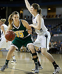 RAPID CITY, SD - FEBRUARY 24, 2016 -- Brooke Pond #33 of Black Hills State drives toward Emily Vandegrift #2 of South Dakota Mines during their college basketball game Wednesday at the Rushmore Plaza Civic Center Ice Arena, S.D.  (Photo by Dick Carlson/Inertia)