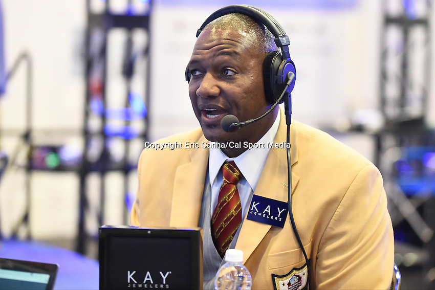 Friday, February 5, 2016: NFL Hall Of Famer Derrick Brooks is interviewed on XM Radio at the Moscone Center in San Francisco, California during the National Football League week long opening celebrations for Super Bowl 50 between the Carolina Panthers and the Denver Broncos . Eric Canha/CSM