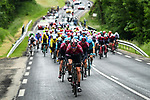 Team Ineos with Ian Stannard (GBR) on the front of the peloton set the pace during another wet Stage 2 of the Criterium du Dauphine 2019, running 180km from Mauriac to Craponne-sur-Arzon, France. 9th June 2019<br /> Picture: ASO/Alex Broadway | Cyclefile<br /> All photos usage must carry mandatory copyright credit (© Cyclefile | ASO/Alex Broadway)
