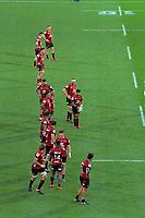 Richie Mo'unga prepares to kick for touch during the Super Rugby Aotearoa match between the Hurricanes and Crusaders at Sky Stadium in Wellington, New Zealand on Saturday, 21 June 2020. Photo: Dave Lintott / lintottphoto.co.nz