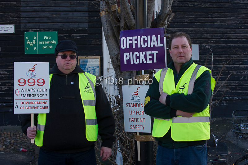 Pickets at Bentley Ambulance station, Doncaster