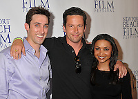 "PAUL J. ALESSI, producer/actor, ROSS McCALL & DANIELLE NICOLET.""Knuckle Draggers"" Premiere at the 2009 Newport Beach Film Festival held at Edwards Cinemas, Newport Beach, CA, USA..April 27th, 2009.half length black top purple shirt arms over shoulders.CAP/ADM/BP.©Byron Purvis/AdMedia/Capital Pictures."