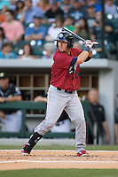 Chris McGuiness (24) of the Lehigh Valley IronPigs at bat against the Charlotte Knights at BB&T BallPark on May 30, 2015 in Charlotte, North Carolina.  The IronPigs defeated the Knights 1-0.  (Brian Westerholt/Four Seam Images)