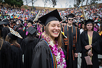 ClaraSophia Gust Families, friends, faculty, staff and distinguished guests celebrate the class of 2019 during Occidental College's 137th Commencement ceremony on Sunday, May 19, 2019 in the Remsen Bird Hillside Theater.<br /> (Photo by Marc Campos, Occidental College Photographer)
