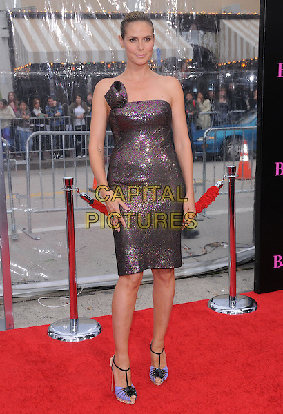 "HEIDI KLUM .at the CBS Films' L.A. Premiere of ""The Back-Up Plan"" held at The Village Theatre in Westwood, California, USA, April 21st, 2010..arrivals full length strapless brown shimmery shiny sparkly bronze dress christian louboutin shoes sandals high heels blue t-bar cork black sequined sequin blue t-bar cork black platform peep toe green khaki pink      .CAP/RKE/DVS.©DVS/RockinExposures/Capital Pictures."