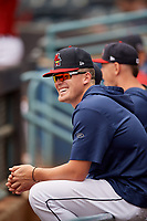 Toledo Mud Hens pitcher Beau Burrows in the dugout during an International League game against the Durham Bulls on July 16, 2019 at Fifth Third Field in Toledo, Ohio.  Durham defeated Toledo 7-1.  (Mike Janes/Four Seam Images)