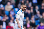 Karim Benzema of Real Madrid reacts during the La Liga 2017-18 match between Real Madrid and Deportivo Alaves at Santiago Bernabeu Stadium on February 24 2018 in Madrid, Spain. Photo by Diego Souto / Power Sport Images