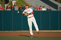North Carolina State Wolfpack third baseman Evan Mendoza (18) makes a throw to first base against the Louisville Cardinals at Doak Field at Dail Park on March 24, 2017 in Raleigh, North Carolina. The Wolfpack defeated the Cardinals 3-1. (Brian Westerholt/Four Seam Images)
