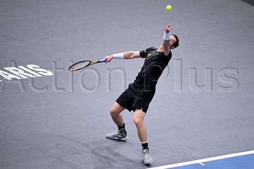 06.11.2015. Paris, France BNP Paribas Master Tennis, Bercy. Semi-finals match between Andy Murray( GBR) and david Ferrrer. Murray serves.