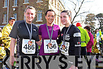 Maeve O'Rahilly, Linda Hussey and Sarah Bermingham at the Valentines 10 mile road race in Tralee on Saturday.