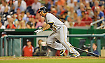 16 May 2012: Pittsburgh Pirates outfielder Jose Tabata in action against the Washington Nationals at Nationals Park in Washington, DC. The Nationals defeated the Pirates 7-4 in the first game of their 2-game series. Mandatory Credit: Ed Wolfstein Photo