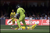 Ricky Ponting takes the catch that ends Pakistans innings... the wicket of Saqlain Mushtaq... 1999 Cricket World Cup, Pakistan V Australia at Lords.... Pic Donald MacLeod