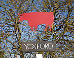 Red bull village sign Yoxford, Suffolk, England