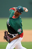 Pitcher Yunior Ortega (20) of the Greenville Drive in a game against the Lexington Legends on Sunday, July 21, 2013, at Fluor Field at the West End in Greenville, South Carolina. Lexington won, 2-0. (Tom Priddy/Four Seam Images)