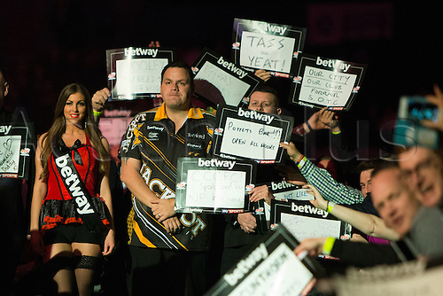 28.04.2016. Barclaycard Arena, Birmingham, England. Betway PDC Premier League Darts. Night 13. Adrian Lewis about to do his walk on.