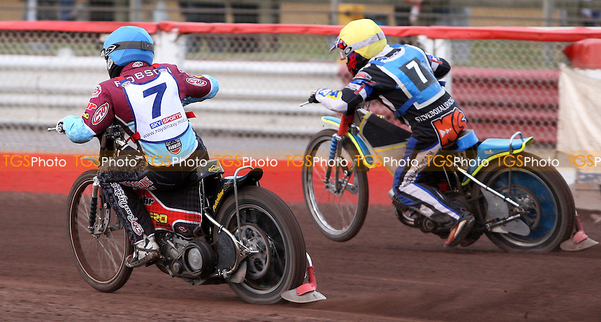 Heat 4: Stuart Robson (blue) overtakes Steve Boxall (yellow) on the last lap - Lakeside Hammers vs Poole Pirates, Elite League Speedway at the Arena Essex Raceway, Purfleet - 20/07/09 - MANDATORY CREDIT: Rob Newell/TGSPHOTO - Self billing applies where appropriate - 0845 094 6026 - contact@tgsphoto.co.uk - NO UNPAID USE.