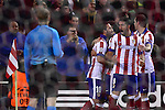 Arda Turan celebrates goal during the UEFA Champions League semifinal first leg football match Club Atletico de Madrid vs Olympiacos at the Vicente Calderon stadium in Madrid on November 26, 2014.   PHOTOCALL3000/ DP