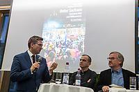 """Buchvorstellung """"Unter Sachsen - Zwischen Wut und Willkommen"""" in Berlin.<br /> Der Sammelband aus dem Christoph Links-Verlag zum Thema Rassismus und rechter Gewalt im Freistaat Sachsen, herausgegeben von der freien Journalistin Heike Kleffner und dem Tagesspiegel-Redakteur Matthias Meisner, wurde am Donnerstag den 30. Maerz 2017 in Berlin vorgestellt.<br /> Auf dem Podium diskutierten der saechsische Vize-Ministerpraesident Martin Dulig (SPD), der saechsische CDU-MdB Marco Wanderwitz, die Linken-Chefin Katja Kipping gemeinsam mit dem Verleger Christoph Link, den Herausgebern Heike Kleffner und Matthias Meisner sowie zwei der 40 Autoren - Michael Bittner und Imran Ayata - ueber das Buch.<br /> In dem Buch suchen die Herausgeber Antworten auf die Frage warum und wie es zu den """"saechsischen Verhaeltnissen"""" kommen konnte. Mit 477 offiziell dokumentierten  fremdenfeindlich motivierte Gewalttaten im Jahr 2015 liegt Sachsen, in Bezug auf die Einwohnerzahl, bundesweit an der Spitze.<br /> Die Landesvertretung des Freistaat Sachsen hatte es abgelehnt die Buchvorstellung in ihren Raeumen stattfinden zu lassen, so dass der Verlag den Sammelband vor ca. 250 Gaesten in der Landesvertretung Thueringen praesentierte.<br /> Im Bild vlnr.: Martin Dulig, Imran Ayata, Christoph Links.<br /> 30.3.2017, Berlin<br /> Copyright: Christian-Ditsch.de<br /> [Inhaltsveraendernde Manipulation des Fotos nur nach ausdruecklicher Genehmigung des Fotografen. Vereinbarungen ueber Abtretung von Persoenlichkeitsrechten/Model Release der abgebildeten Person/Personen liegen nicht vor. NO MODEL RELEASE! Nur fuer Redaktionelle Zwecke. Don't publish without copyright Christian-Ditsch.de, Veroeffentlichung nur mit Fotografennennung, sowie gegen Honorar, MwSt. und Beleg. Konto: I N G - D i B a, IBAN DE58500105175400192269, BIC INGDDEFFXXX, Kontakt: post@christian-ditsch.de<br /> Bei der Bearbeitung der Dateiinformationen darf die Urheberkennzeichnung in den EXIF- und  IPTC-Daten nicht entfernt werden, diese"""